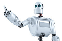 Robot pointing at invisible object. Isolated. Contains clipping path Royalty Free Stock Image