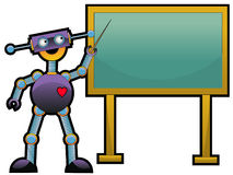 Robot pointing to chalkboard Stock Photos