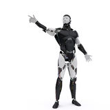 Robot points his finger. On the white background Royalty Free Stock Photo