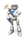 Robot points at the top left Royalty Free Stock Image