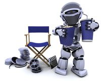 Robot with popcorn and soda with directors chair. 3D render of a robot with popcorn and soda with directors chair Stock Photos