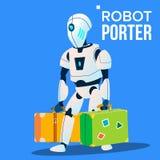 Robot Porter Carries beaucoup de vecteur de bagage Illustration d'isolement illustration libre de droits