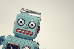 Robot. Portrait of a vintage tin toy robot royalty free stock images