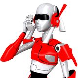 Robot pose call telephone 3. Robot pose call telephone old phone talk contact Stock Photos