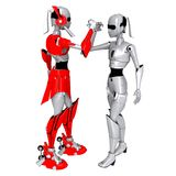 Robot pose cooperate. Friendly communication hand stock photos