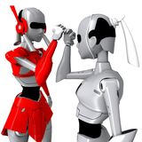 Robot pose cooperate Royalty Free Stock Images