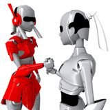 Robot pose cooperate. Friendly communication hand Stock Image