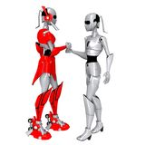Robot pose cooperate. Friendly communication hand Royalty Free Stock Image