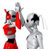 Robot pose cooperate. Friendly communication hand Royalty Free Stock Photography