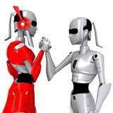 Robot pose cooperate. Friendly communication hand Stock Photography
