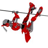 Robot pose hung on the line. Robot pose hung line hang swag uncompromising Royalty Free Stock Photos