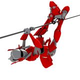 Robot pose hung on the line 2. Robot pose hung line hang swag uncompromising stock illustration