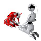 Robot pose japan tradition. Robot shake hand friendly Relationship cooperation Stock Illustration