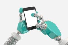 Robot in Pose met Slimme Telefoon Royalty-vrije Stock Foto