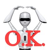 Robot pose O.K. right japanese style. Robot big O.K. right correct meet okey vector illustration