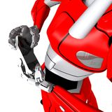 Robot pose show bend smartphone Royalty Free Stock Images