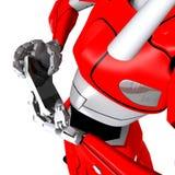 Robot pose show bend smartphone. Bend frizzle warp wrack blasted crash break Royalty Free Illustration