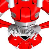 Robot pose show bend telephone Royalty Free Stock Photo