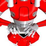 Robot pose show bend telephone. Bend frizzle warp wrack blasted crash break Vector Illustration