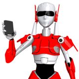 Robot pose show smartphone Stock Image
