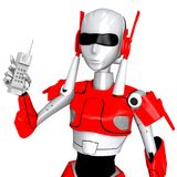 Robot pose show telephone Royalty Free Stock Photo