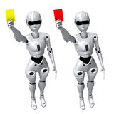 Robot pose show yellow and red cards. Style royalty free illustration