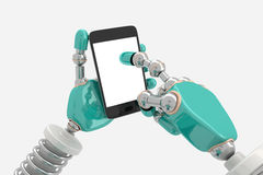 Robot in Pose with Smart Phone Royalty Free Stock Photo
