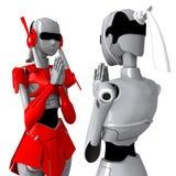 Robot pose Thailand tradition. Robot shake hand friendly Relationship cooperation Stock Illustration