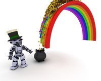 Robot with pot of gold at the end of the rainbow Stock Photography