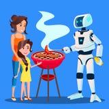Robot préparant un barbecue pour le vecteur de famille Illustration d'isolement illustration de vecteur