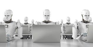 Robot praca na laptopie Obraz Royalty Free