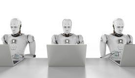 Robot praca na laptopie Obraz Stock