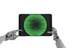 Robot pracuje z bitcoin Fotografia Stock