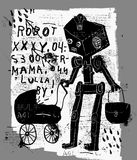 Robot with a pram Royalty Free Stock Image