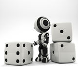Robot Presenting Oversized Dice Stock Images