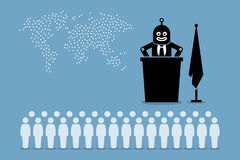 Robot president and artificial intelligent government controlling the country and world from human. Artwork depicts automation, human replacement, threat to Stock Images
