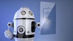 Robot pressing virtual screen with shield icon Stock Photo