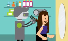 Domestic robot hairdresser cutting hair of a young woman in beauty salon. vector illustration