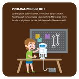 Robot Programming Flat Banner. Young Engineer Boy royalty free stock photography