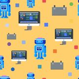 Robot Programming Seamless Pattern. Flat Character stock photography