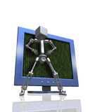 Robot protecting computer. Conceptual illustration of business man like robot in front of monitor, indicating protection, safety Stock Image