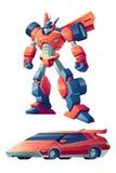 Robot przekształcać w sportowy samochód kreskówki wektorze ilustracja wektor