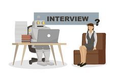 Robot przeprowadza wywiad urzędnika Przedstawia automatyzację, przyszłościowego rynek pracy i sztuczną inteligencję, royalty ilustracja