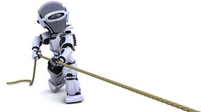 Robot pulling on a rope Royalty Free Stock Photography