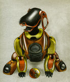Robot puppy. Funny robot puppy with ball. Eager to play with you Stock Images