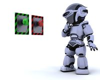 Robot and push button vector illustration