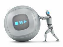 Robot pushing big music player Stock Image