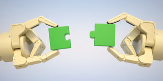 Robot puts jigsaw puzzle pieces together Stock Image