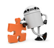 Robot with puzzle. Image contain the clipping path Royalty Free Stock Photography