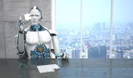 Robot Puzzle. A white robot sitting at the table assembling a puzzle royalty free illustration